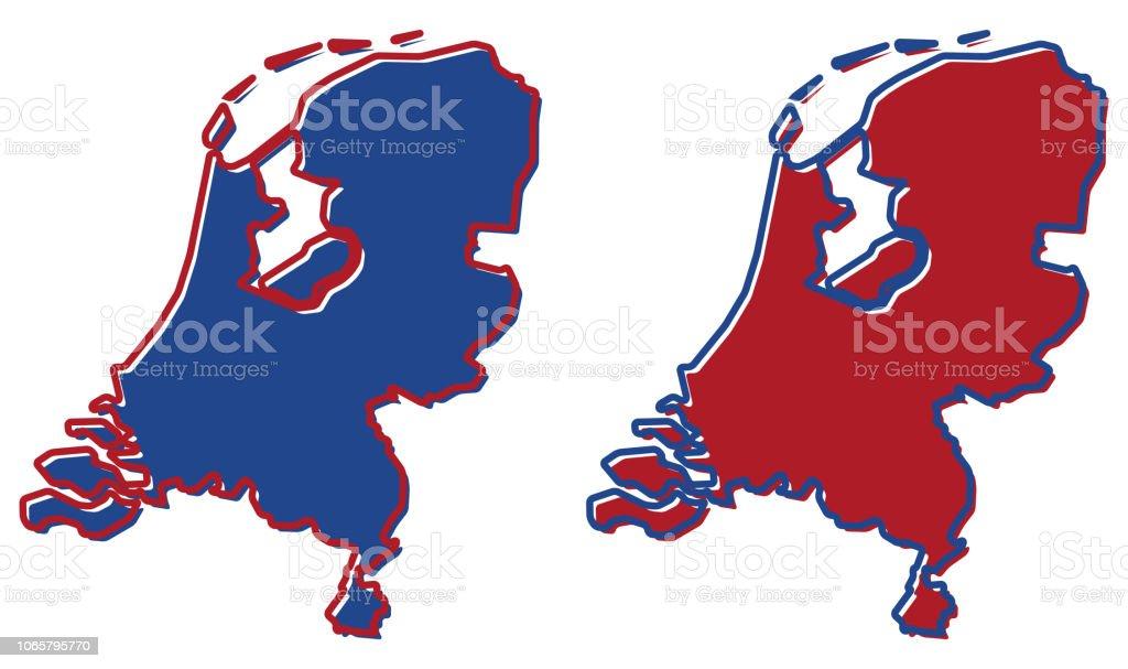 Niederlande Karte Umriss.Vereinfachte Karte Der Niederlande Umriss Fläche Und Kontur Sind Die