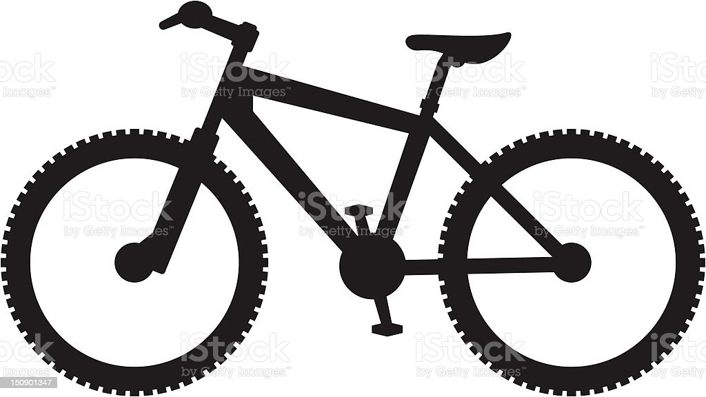 simplified mountain bike silhouette royalty free stock vector art