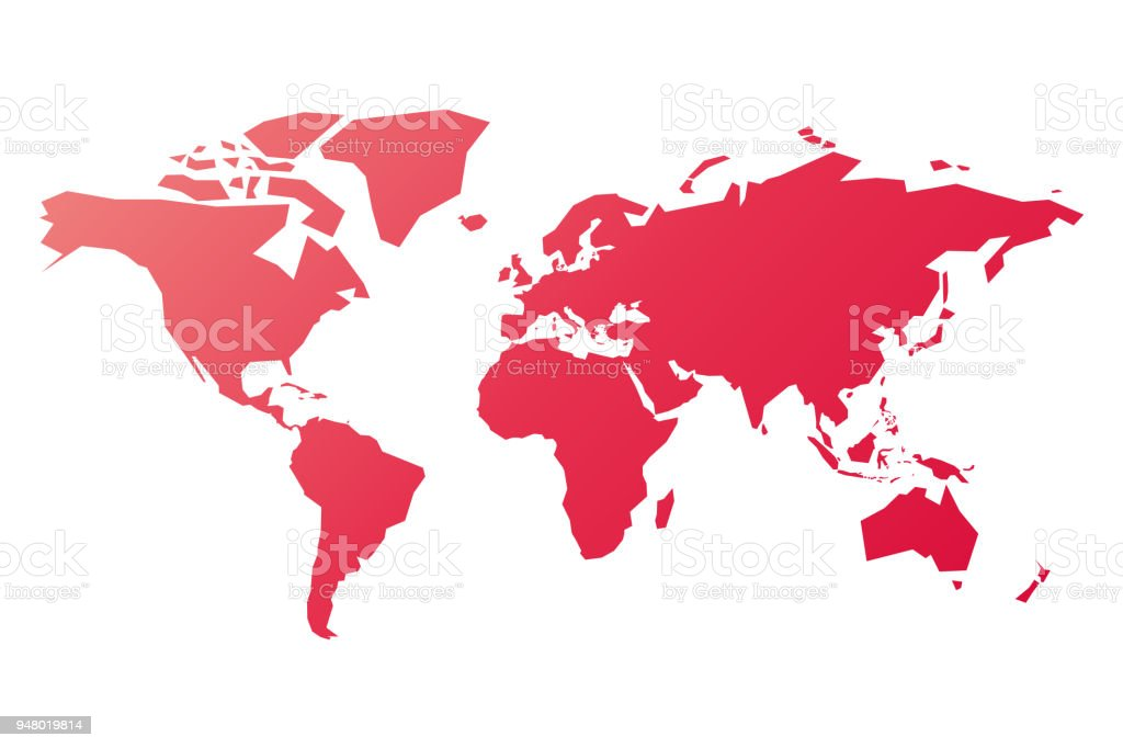 Simplified silhouette of world map in pinkred gradient vector simplified silhouette of world map in pink red gradient vector illustration isolated on white gumiabroncs Choice Image