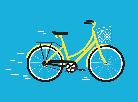 Simplified vector city bike, illustration