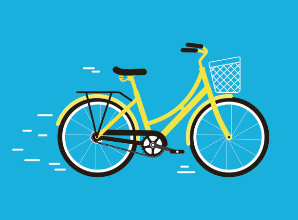 simplified vector city bike, illustration - bike stock illustrations, clip art, cartoons, & icons