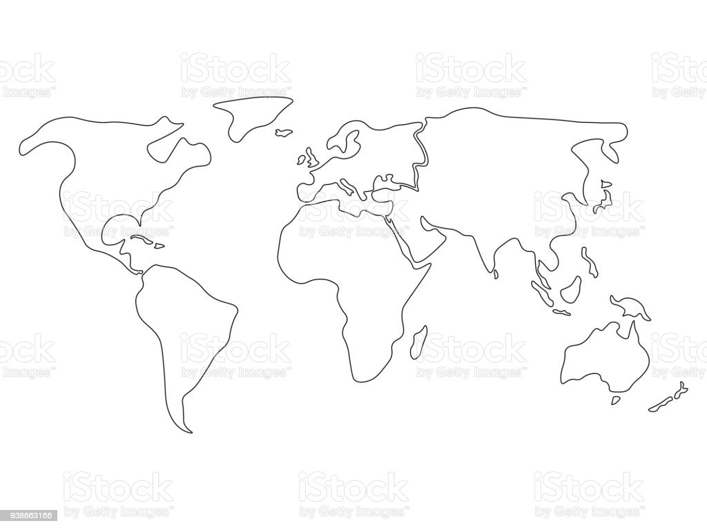 Simplified World Map Divided To Continents Simple Black Outline ...