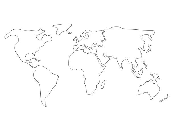 Royalty Free World Map Outline Clip Art Vector Images