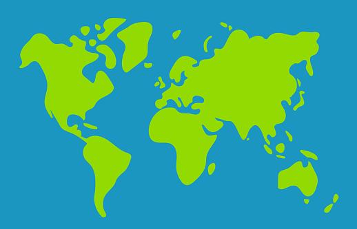 Simplified world map vector illustration