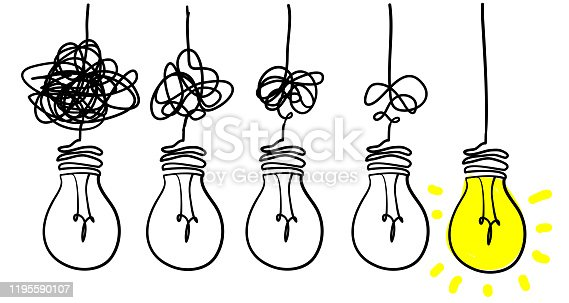 istock Simplifying the complex, confusion clarity or path vector idea concept with lightbulbs doodle illustration 1195590107
