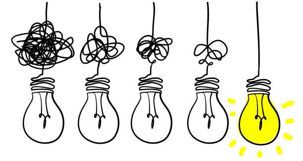 전구 낙서 그림으로 복잡하고 혼란스러운 선명도 또는 경로 벡터 아이디어 개념을 단순화 - mindfulness stock illustrations