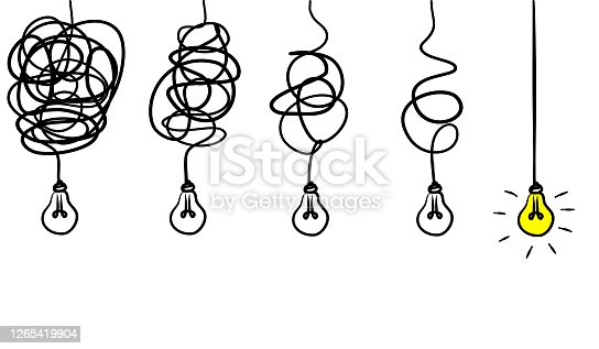 Simplifying the complex, confusion clarity or path vector idea concept. Doodle vector illustration .