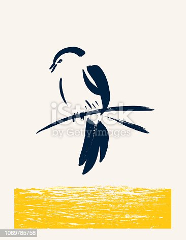 Minimalism Brush paintings Of A Songbird. painted with ink on paper, then vectorized.