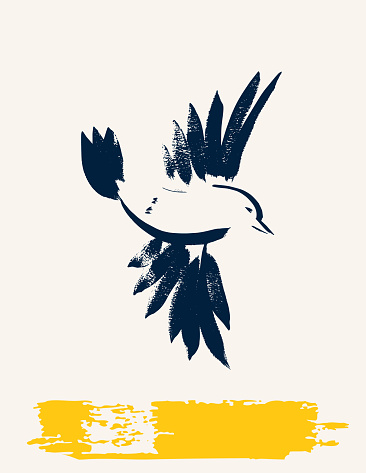 Simplistic Brush paintings Of A Songbird