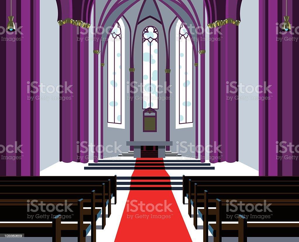 Simplistic image of a symmetrical church hall vector art illustration