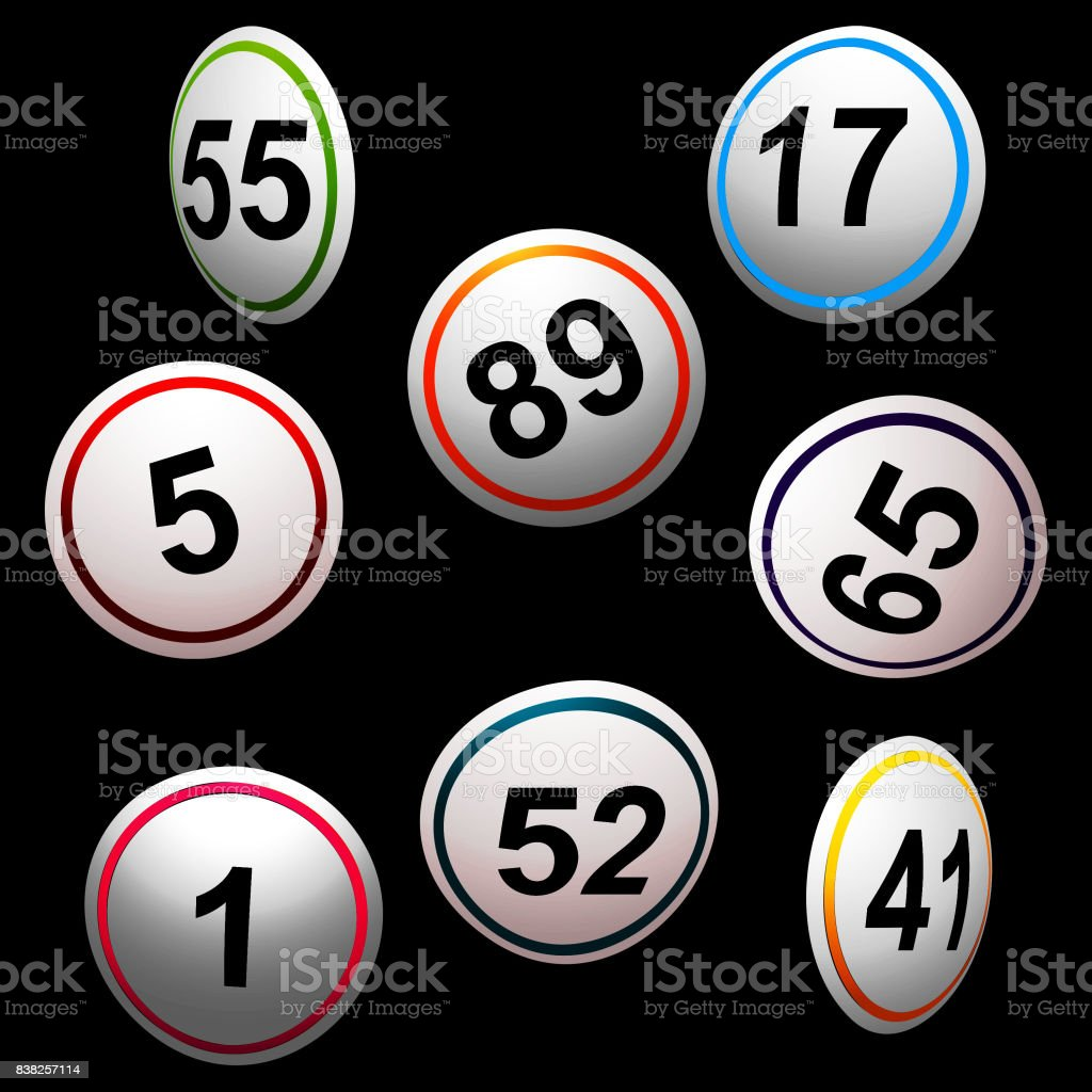 Simply 3D bingo lottery numbers over black vector art illustration
