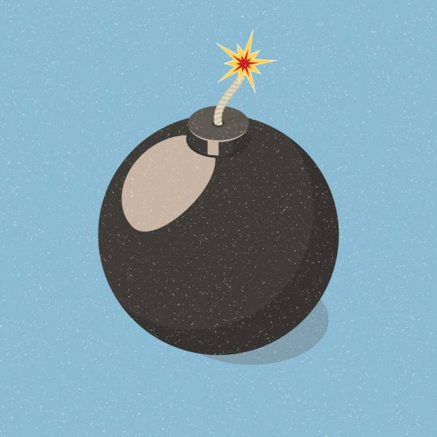 Simply bomb icon. Simply sphere bomb icon. Isometric vector illustration explosive fuse stock illustrations