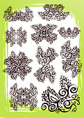group of decorative loopable design elements derived from a hand painted freehand design