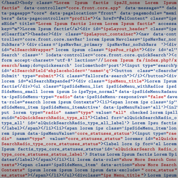 Simulation code programming script background Vector Illustration of a Simulation Fake HTML code programming script background html stock illustrations