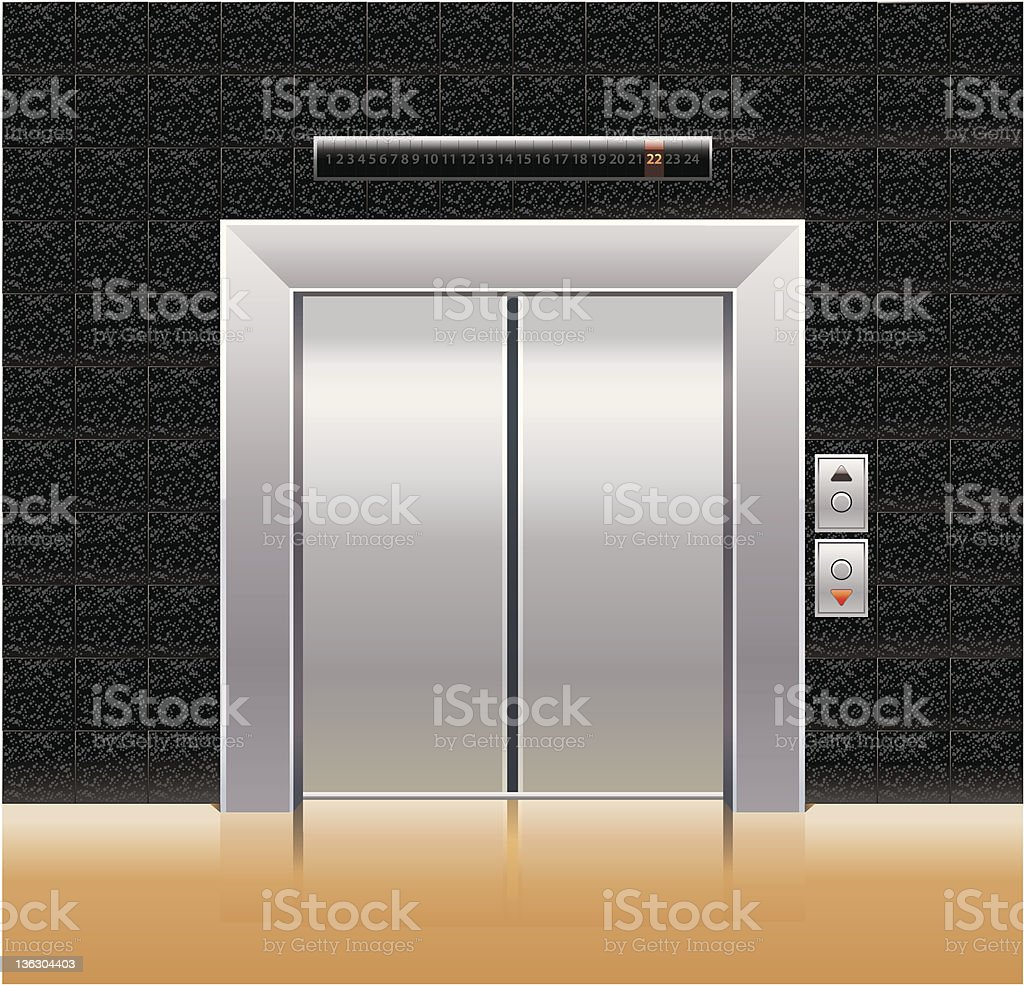 Simulation of a passenger elevator from a hallway royalty-free stock vector art