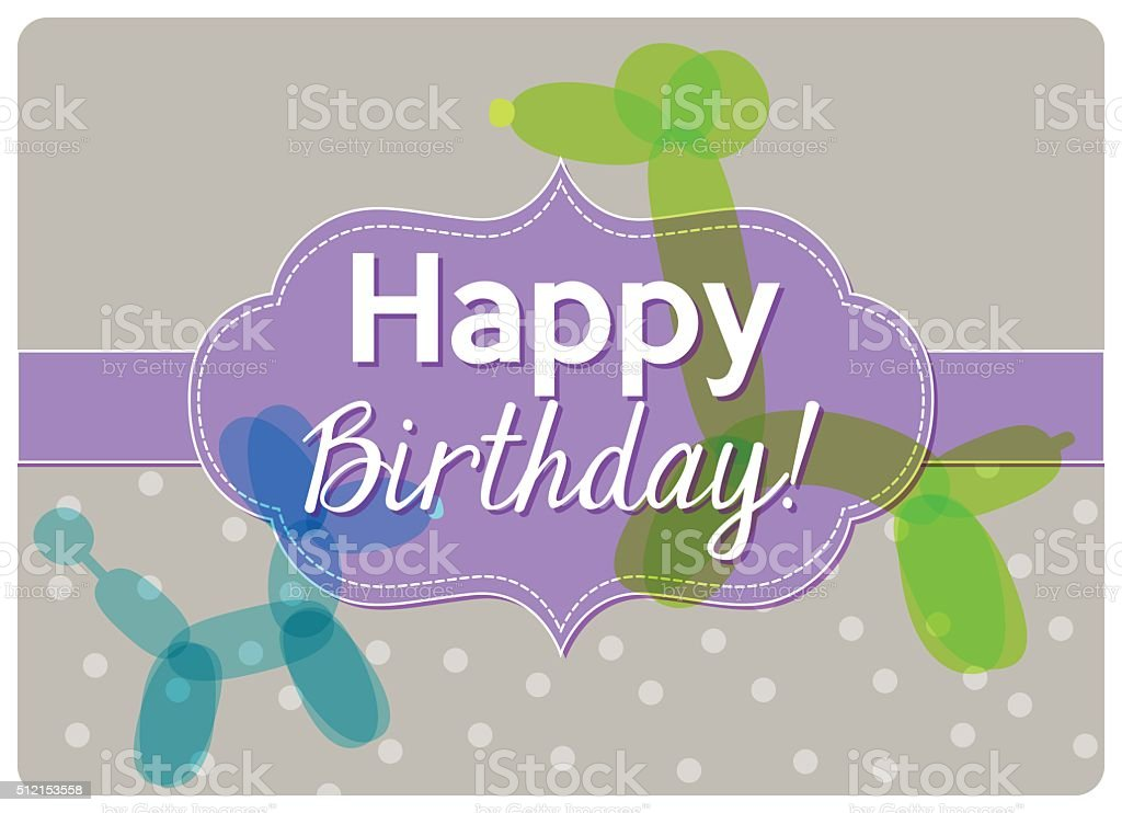 sincere wish to happy birthday with cute balloons twisting vector art illustration