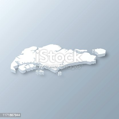 istock Singapore 3D Map on gray background 1171867944