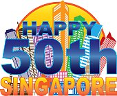 Singapore 50th National Day Skyline Circle Color Illustration