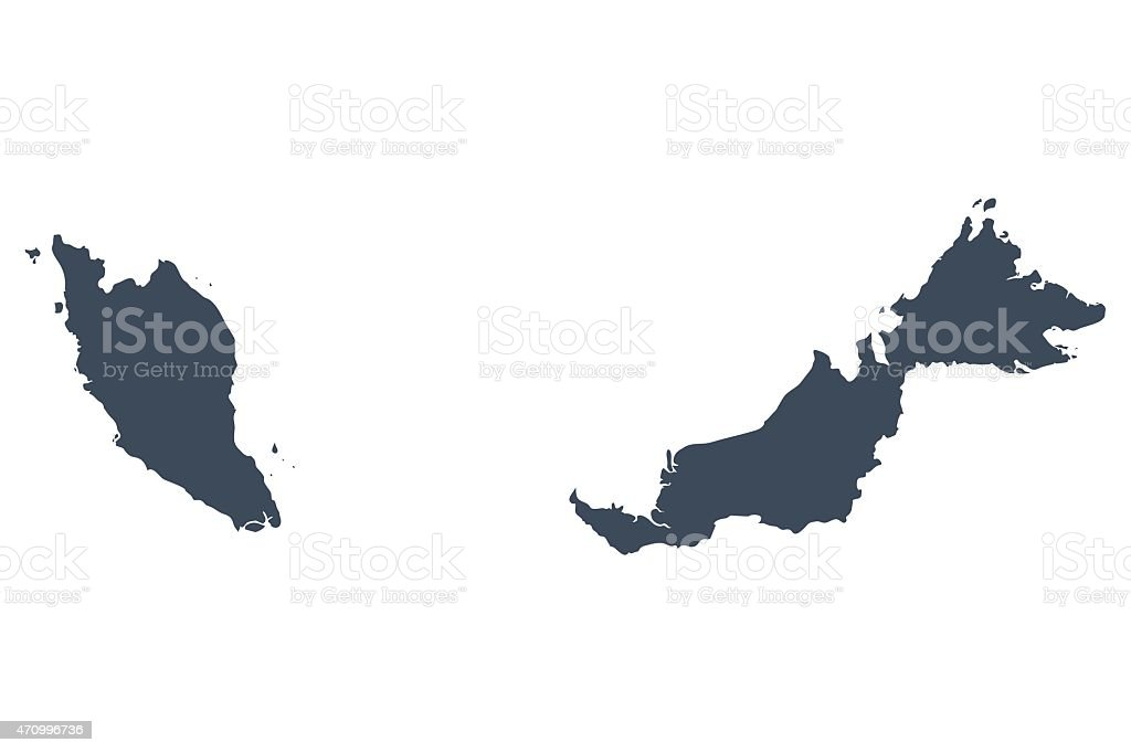 Singapore and malaysia country map vector art illustration