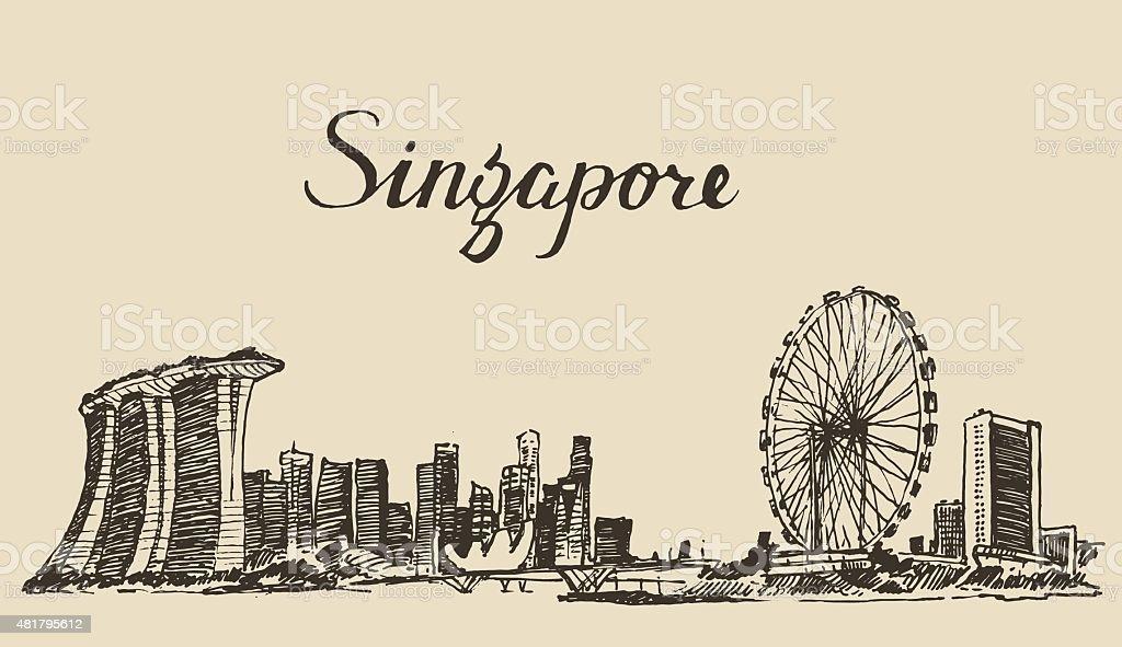 Singapore architecture hand drawn sketch vector art illustration