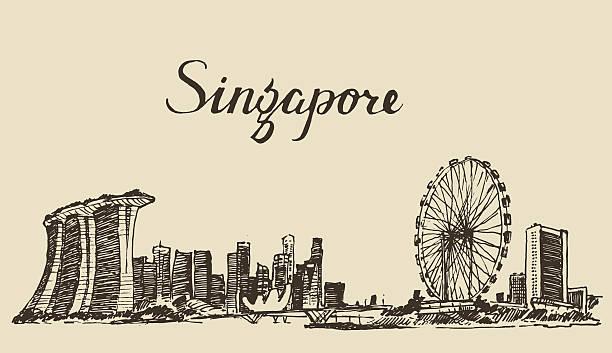 stockillustraties, clipart, cartoons en iconen met singapore architecture hand drawn sketch - singapore