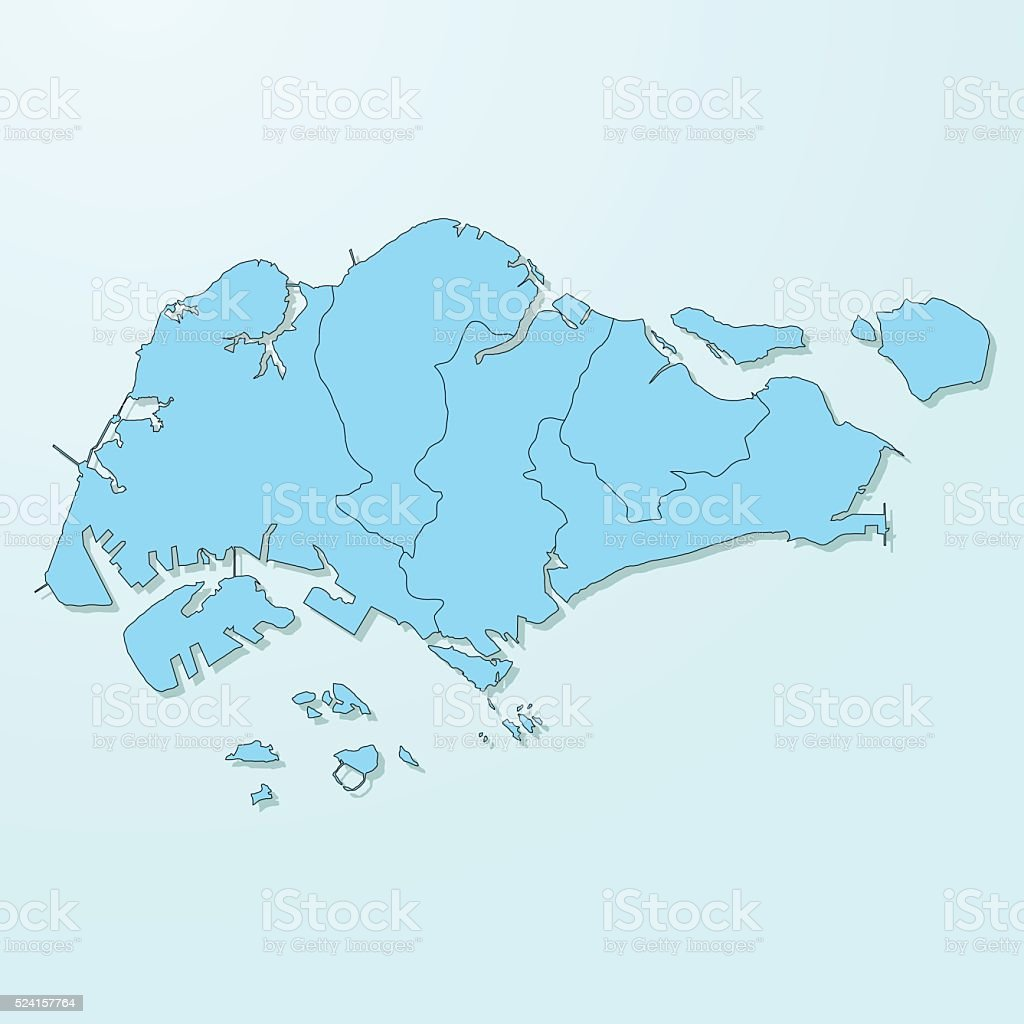 Singapore Blue Map On Degraded Background Vector stock vector art