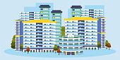 Singapore building apartments vector illustration