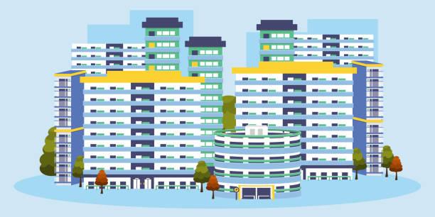 stockillustraties, clipart, cartoons en iconen met singapore building apartments - singapore