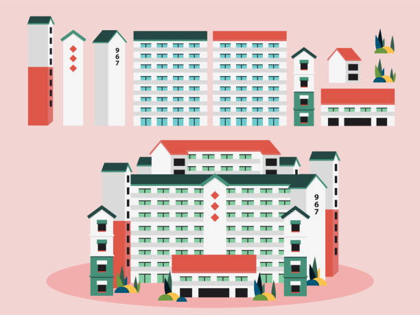 stockillustraties, clipart, cartoons en iconen met singapore building apartments vector illustratie - singapore