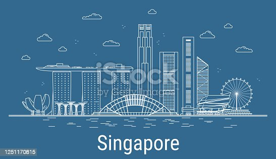 Singapore city line art Vector illustration with all famous buildings. Cityscape.