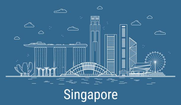싱가포르 도시 라인 아트 벡터 일러스트는 모든 유명한 건물. 도시. - 싱가포르 stock illustrations
