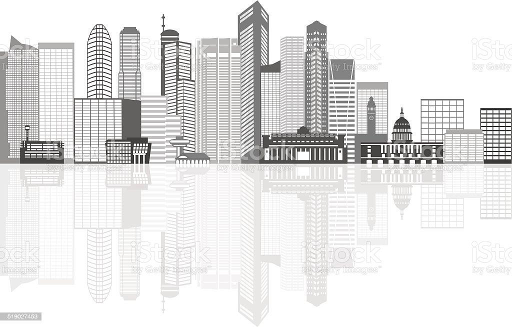 Singapore City Skyline Grayscale with Reflection Vector Illustration vector art illustration