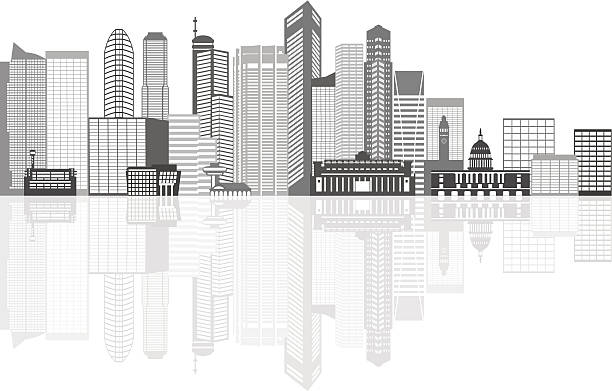 Singapore City Skyline Grayscale with Reflection Vector Illustration Singapore City Skyline Silhouette Outline Panorama Grayscale with Reflection Isolated on White Background Vector Illustration esplanade theater stock illustrations
