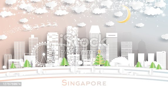 Singapore City Skyline in Paper Cut Style with Snowflakes, Moon and Neon Garland.