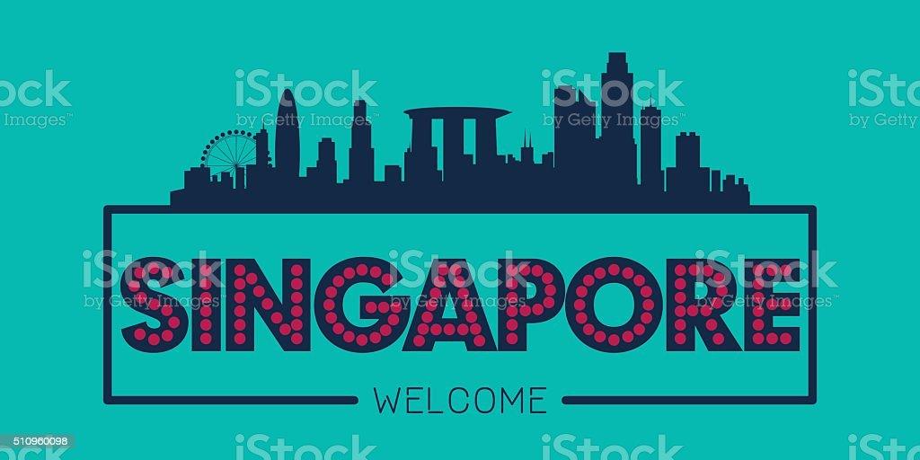 Singapore city skyline silhouette vector art illustration