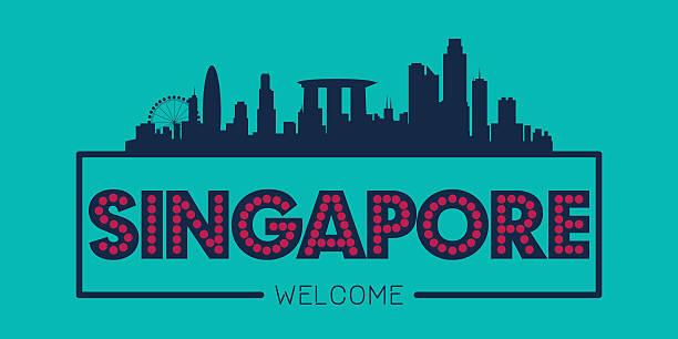 싱가포르시 스카이라인 실루엣 - 싱가포르 stock illustrations