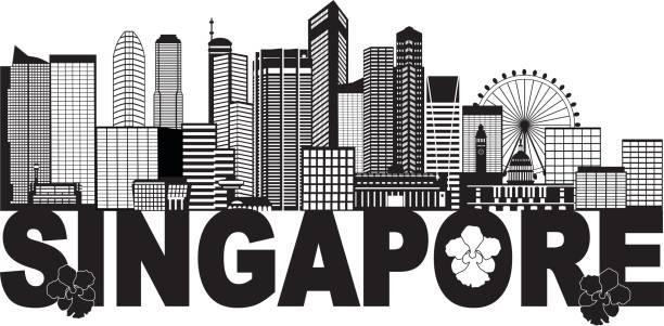 stockillustraties, clipart, cartoons en iconen met singapore city skyline tekst zwart-wit afbeelding - singapore