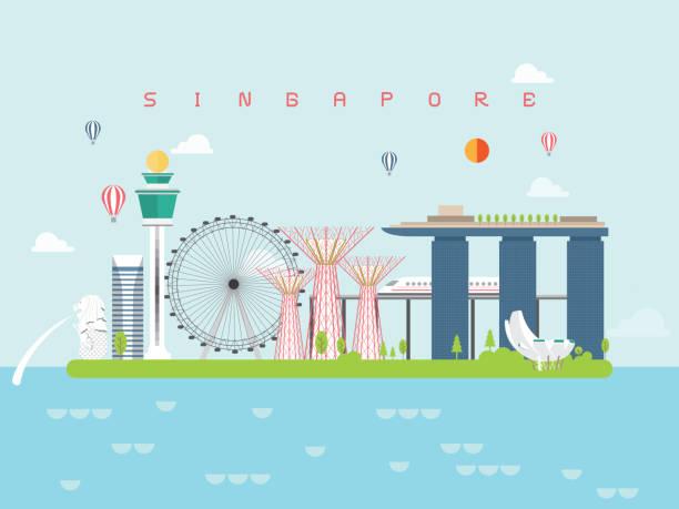 싱가포르 유명 관광지 인포 그래픽 템플릿 여행 최소한의 스타일과 아이콘, 기호 세트 벡터 일러스트 레이 션은 포스터 트래블 북, 엽서, 빌보드에 사용할 수 있습니다. 벡터 아트 일러스트
