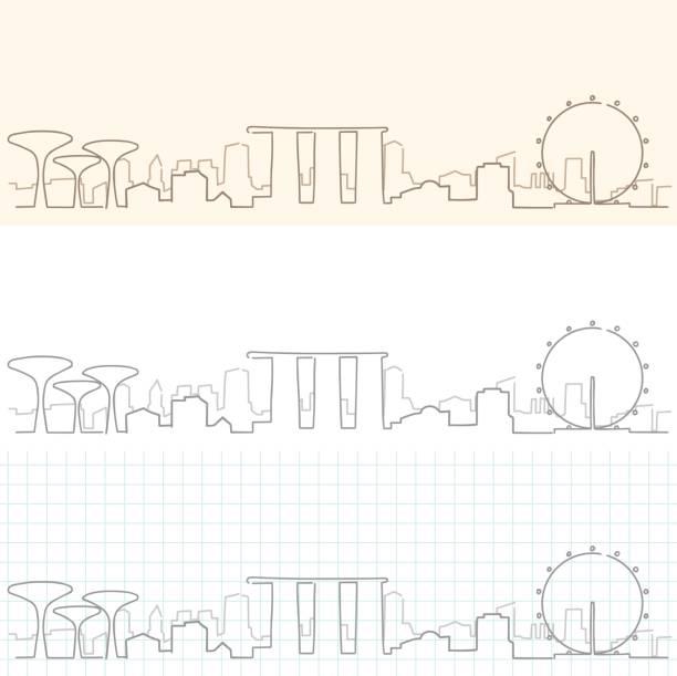 stockillustraties, clipart, cartoons en iconen met singapore hand getekende skyline - singapore