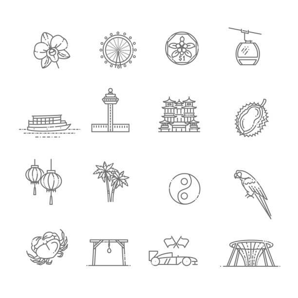 stockillustraties, clipart, cartoons en iconen met singapore icon set, dunne lijn icoon. singapore symbolen - singapore