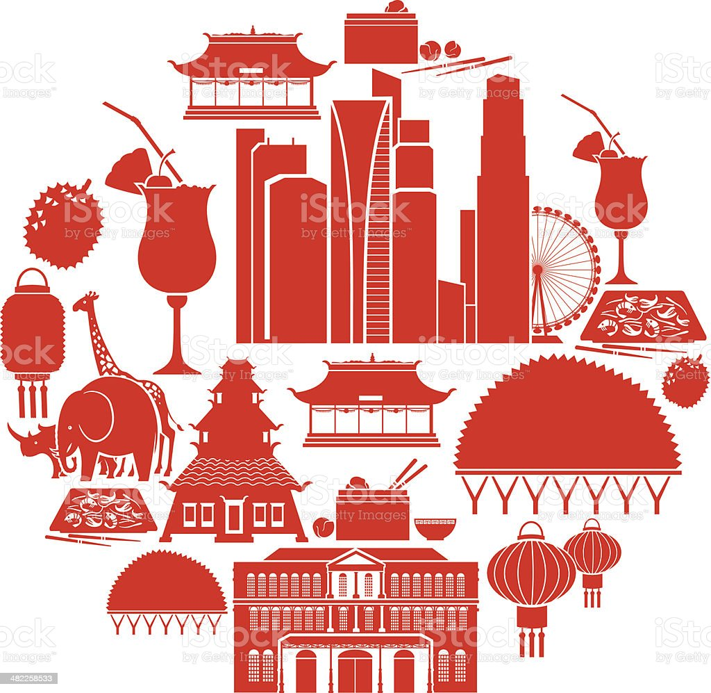 Singapore Icon Set vector art illustration