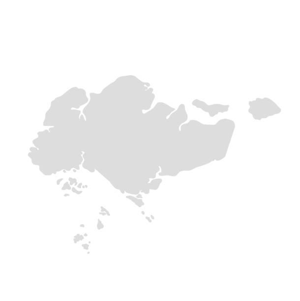 stockillustraties, clipart, cartoons en iconen met singapore kaart illustratie vector eps10 - singapore
