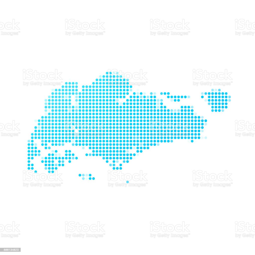 Singapore map of blue dots on white background vector art illustration