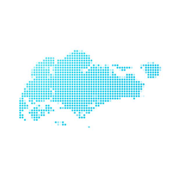 stockillustraties, clipart, cartoons en iconen met singapore kaart van blauwe stippen op witte achtergrond - singapore