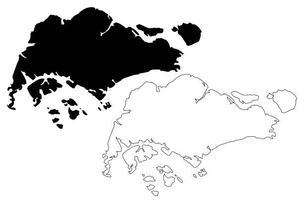 stockillustraties, clipart, cartoons en iconen met singapore kaart vector - singapore