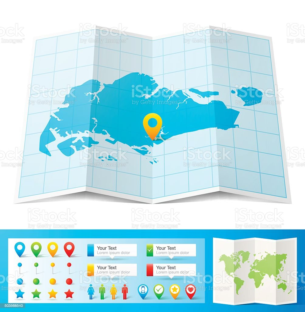 Singapore Map with location pins isolated on white Background vector art illustration