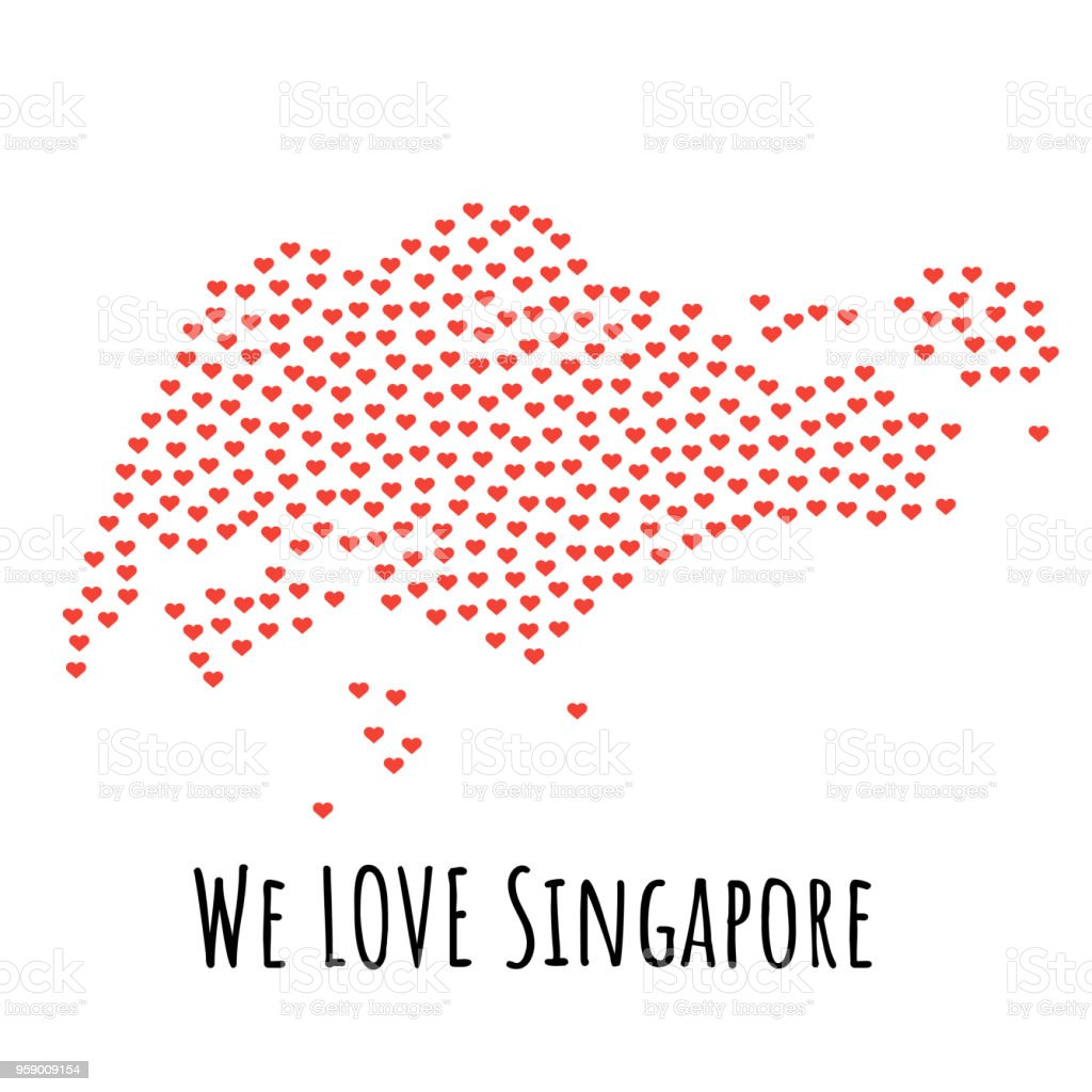 Singapore Map With Red Hearts Symbol Of Love Abstract Background