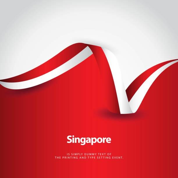 stockillustraties, clipart, cartoons en iconen met singapore nationale dag vector template ontwerp illustratie - indonesische vlag