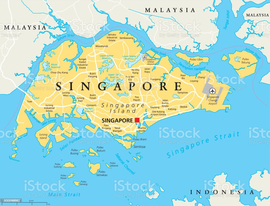 Singapore Political Map vector art illustration