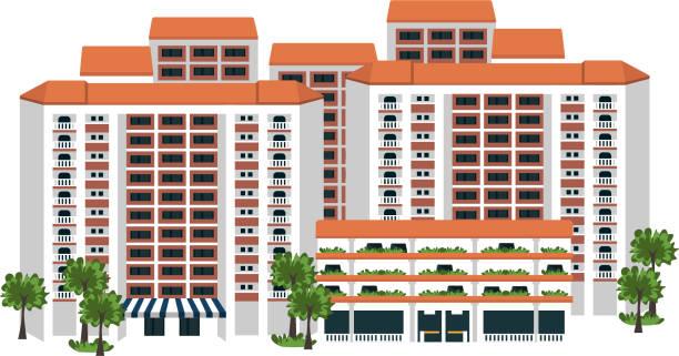 stockillustraties, clipart, cartoons en iconen met singapore volkshuisvesting - singapore